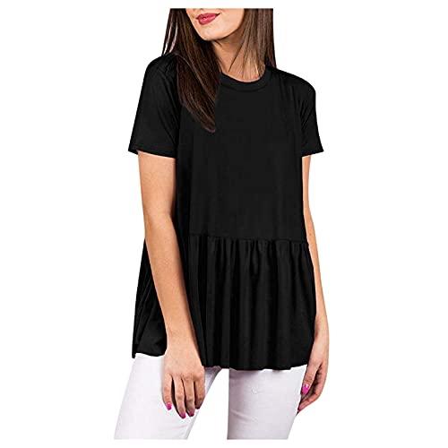 BUDAA Camiseta de manga corta para mujer, estilo informal, cuello redondo, suelta, plisada, estilo túnica