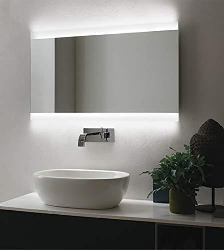 Arredobagnoecucine Coiffeuse Miroir Fil Brillant Bain, rétroéclairé LED, Design, cm.100 x 70