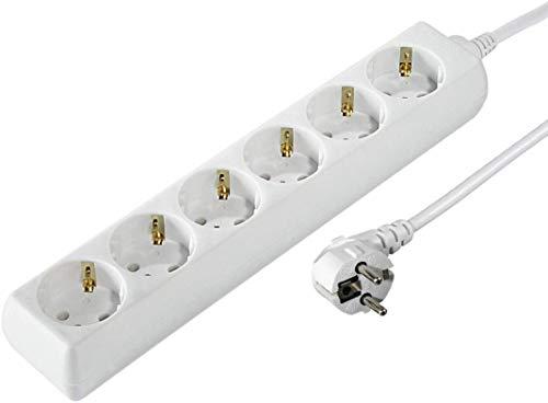 Hama Steckdosenleiste 6-fach (1,4m Kabelllänge, 45 Grad gedreht, Mehrfachsteckdose, GS geprüft) weiß