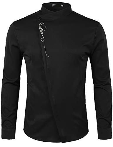 ZEROYAA Mens Hipster Embroidery Slim Fit Long Sleeve Casual Mandarin Collar Dress Shirts Z53 Black X Large