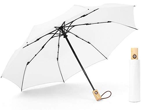 Paraguas color blanco, negro, borgoña Krago de viaje, resistente al viento, cierre automático, con caja de regalo, resistente a la lluvia, con elegante asa