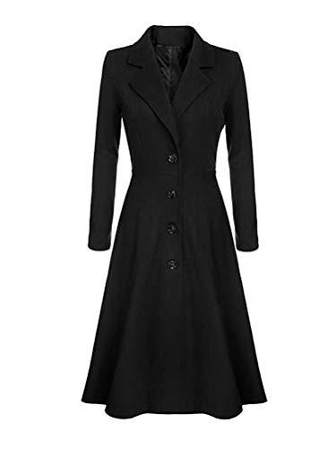 Minetom Damen Wollmantel Winter Mantel Trenchcoat Warm Schlank Windmantel Outwear Elegant Übergangsmantel Knopfleiste Lange Jacke Schwarz 38