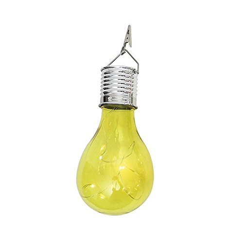 Sillor Colorful Waterproof Solar Rotatable Outdoor Garden Camping Hanging LED Light Lamp Bulb Home Garden Tree Party Bar Decoration (Yellow, 3.0 * 5.9inch)