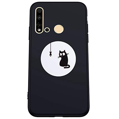 Kompatibel mit Huawei P20 Lite 2019 Hülle Matt Schwarz Handyhülle Ultra Dünn TPU Silikon Case Prägnant Mode Muster Schutzhülle Anti-Fingerprint Anti-Scratch Stoßfest Silikonhülle Tasche Hüllen Cover
