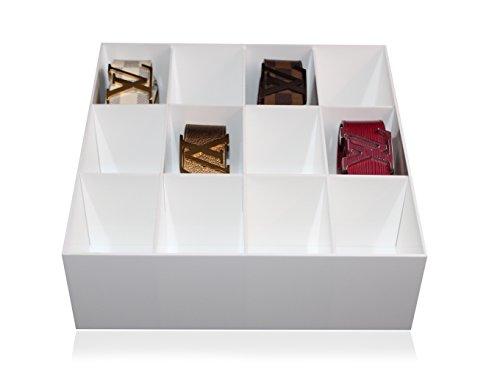 Estellani® Gürtelbox/Krawattenbox, Farbe Weiß, Acryl glänzend, Gürtelaufbewahrung, Krawattenaufbewahrung