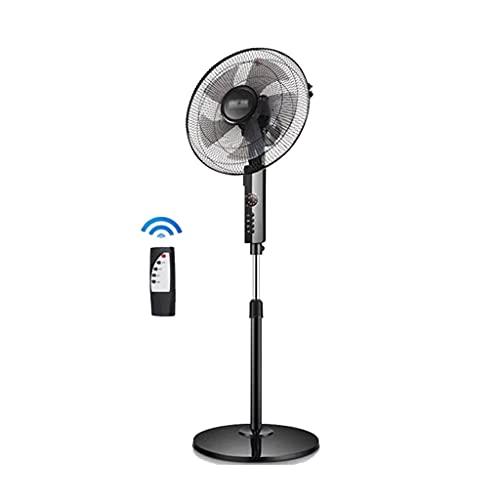 Ventilador Eléctrico Casero de 16 Pulgadas 3 Velocidades con Mando A Distancia Gran Angular Sacude La Cabeza Ventiladores de Pie 5 Aspas de Ventilador Temporizador de 7.5 Horas, Negro