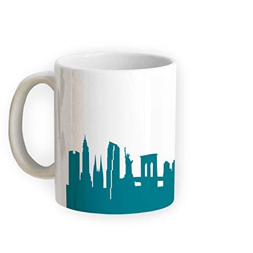 Tasse New York Skyline - Bürotasse Kaffeebecher Städtetasse 5 Farben - Personalisierte Geschenkidee für New Yorker & Fans, Umzug Richtfest Architekt