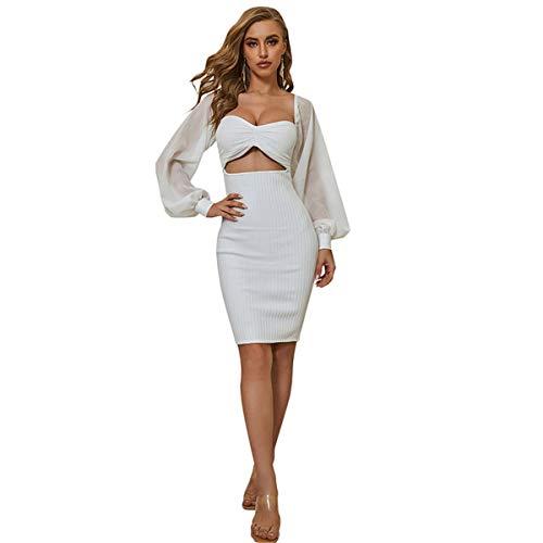 EVFIT Vestido de noche para mujer, vestido de noche de manga larga, disfraz de discoteca, sexy sin cintura, falda de cadera (color blanco, tamao: grande)