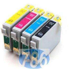 1 Set completo di 4 cartucce d'inchiostro compatibili ad alta capacità, Multipack T0445 T0441 T0442 T0443 T0444, per Epson Stylus C64 C66 C84 C86 CX3600 CX3650 CX4600 CX6400 CX6600 stampanti