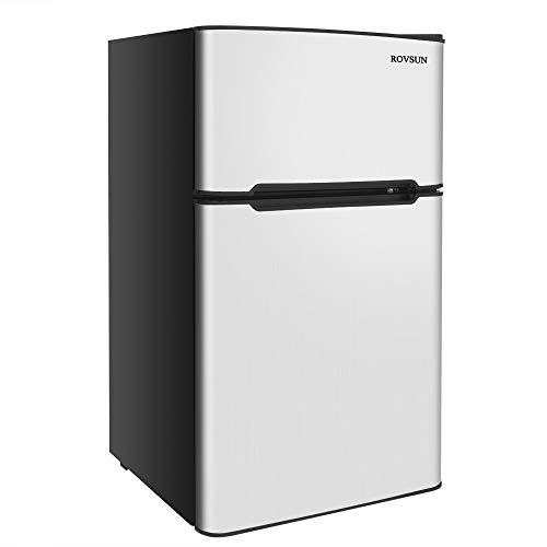ROVSUN 2 Door Compact Refrigerator with Freezer, 3.2 CU FT Upright Mini Fridge Cooler for Food Drink Beer Storage with Removable Shelves, Ice Tray, Scraper, Perfect for Apartment, Bedroom, Office & Dorm