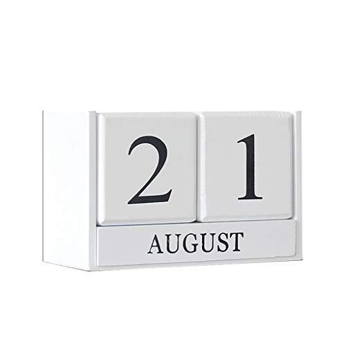 VVAN Calendario de escritorio Esktop, calendario de madera vintage, calendario de escritorio, bloque de madera, fecha, para decoración del hogar, oficina (color: blanco)