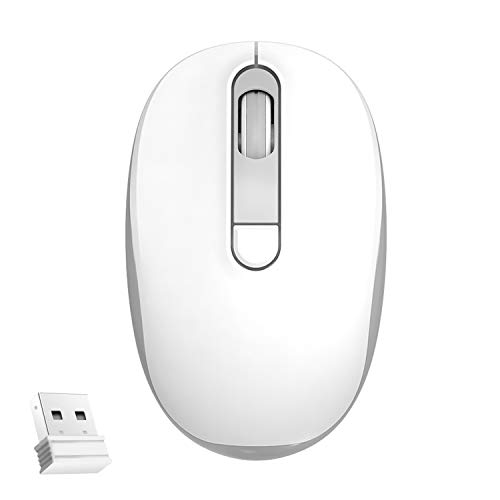 Wireless Mouse, 2.4G Noiseless Mouse,Ergonomic Wireless Optical Mouse with USB Receiver for Laptop,PC,Computer,Notebook,The Product Contains Batteries (White&Grey)