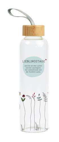 Grafik-Werkstatt Unisex – Botella de agua de cristal para adultos con texto divertido | con asa | 550 ml | El cuerpo es chillich, multicolor, mediano