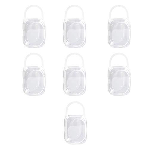 Exceart Schnullerbox Staubdichter Schnullerhalter Baby Beißringbehälterhalter Zubehör für Reisen zu Hause im Freien Reisezubehör 7 Stück (Weiß)