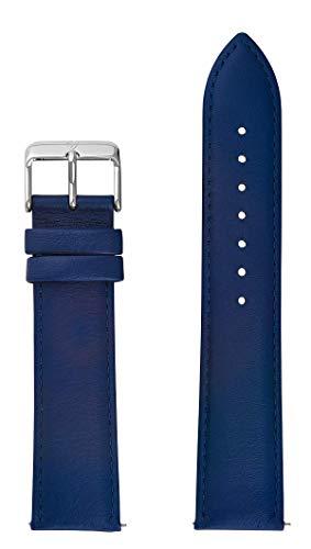 DETOMASO blaues Uhrenarmband aus Leder mit silberner Dornschließe, 22mm