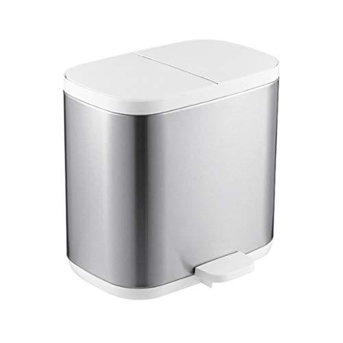 LOMJK Papeleras Doble Reciclaje Cubo de la Basura, Separación de Doble Compartimiento de Bin for los residuos, la Huella Digital de la Basura de la Prueba Puedo, Oficina Papelera Cubos de Basura