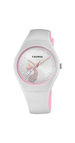 CALYPSO Reloj Modelo K5792/4 de la colección Sweet Time, Caja de 39 mm Correa de Caucho Gris Claro para señora