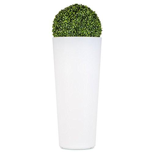 Vaso luminoso tondo con Bosso,vaso in resina illuminato, vasi luminosi, giardino h 85