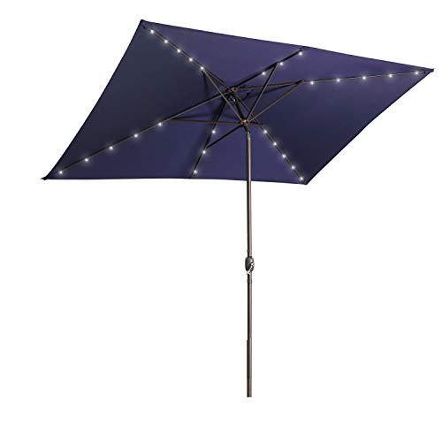 Aok Garden 6.5×10 ft Rectangular Patio Umbrella with Solar Lights Outdoor Table Umbrella with Push Button Tilt & Crank 6 Sturdy Ribs for Market Deck Backyard, Dark Blue