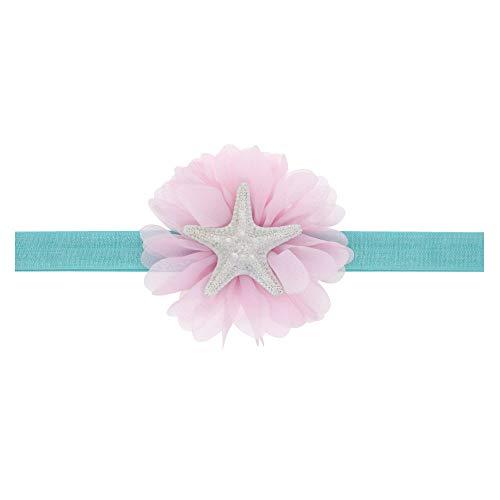 Love Fairy Baby Girl's Cute Starfish Elastic Hair Band Ocean Princess Headband for Travel Party Festivals (Pink)