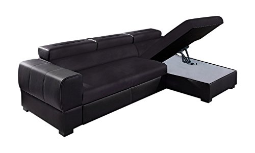 Relaxima Trésor Canapé d'Angle Convertible Droit avec Coffre Têtière Amovible Bois Noir/Noir 266 x 160 x 90 cm