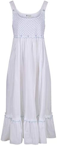The 1 for U 100 Cotton Nightgown with Smocking and Pockets Paige Large White product image