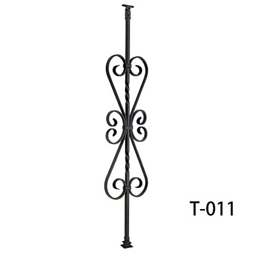 Modern Hollow Double Ring Circle Metal Railing Spindles 1//2 x 44 Tall Real Satin Black NOT Matte Contemporary Two Ring Stair Iron Balusters 5-Pack