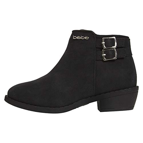 bebe Girls Ankle Metallic Boots Size 13 Double Buckle Zipper Fashion Shoes Black