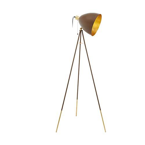 EGLO Chester 1 - Lámpara de pie con trípode, 1 lámpara de pie vintage, de acero, color óxido, dorado, casquillo E27, incluye interruptor de cordón