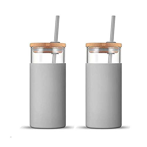 tronco 20oz Glass WateTronco 20oz Glass Tumbler Glass Water Bottle Straw Silicone Protective Sleeve Bamboo Lid - BPA Free (French Grey/ 2-Pack)