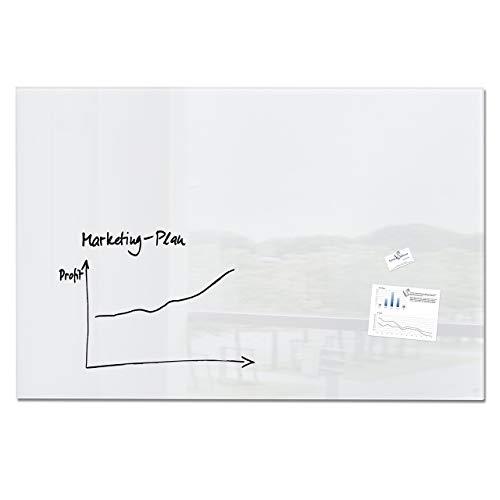 SIGEL GL220 Großes Glas-Whiteboard 150x100 cm super-weiß / Premium Glas Magnettafel / Sicherheitsglas / TÜV geprüft / Magnetboard Artverum - weitere Farben/Größen