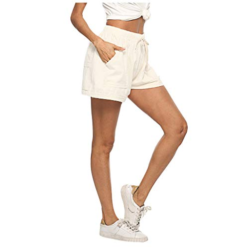 Best Price Comfort Stretch Linen Cotton Short - Plus Size Solid Color Shorts with 4 Pockets - Lace U...