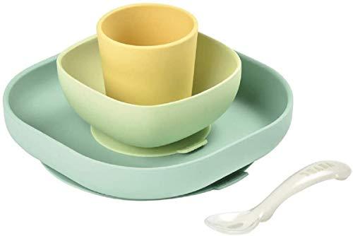 Béaba Vajilla de silicona con ventosa resistente, Completa con 4 piezas, Plato, bol, taza y cuchara de silicona de alta calidad con ventosa, Alimenta a tu bebé o hijo fácil