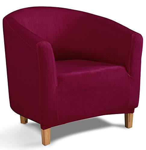 TIANSHU Copridivano Tub Chair in Velluto,Copridivani in Morbido Peluche di Velluto per Divano Fodere per mobili di Lusso alla Moda(Tub Chair,Bordeaux)
