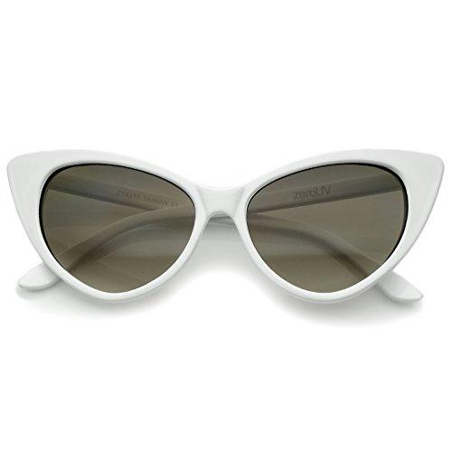 zeroUV - Women's Retro Oversized High Point Cat Eye Sunglasses 54mm (White/Smoke Gradient)