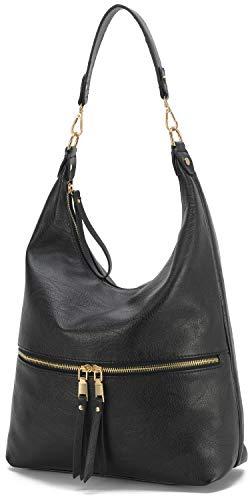 Lola Mae Hobo Bag for Women, Soft shoulder Handbag with Long strap, Crossbody purse with Tassel (Black)