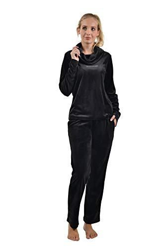 RAIKOU Damen Hausanzug Freizeitanzug Fitnessanzug Trainingsanzug Jogginganzug Schlafanzug(44/46, Schwarz )