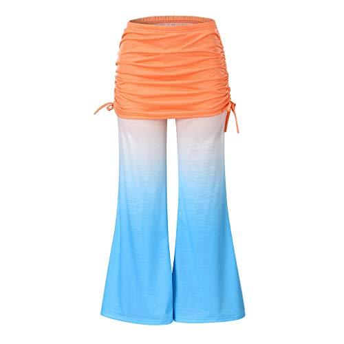 waotier Pantalones Sueltos Casuales cómodos para Mujer Pantalones doblados en la Cintura Control de Barriga Pantalones de Color Degradado Pantalones de chándal Largos y Suaves