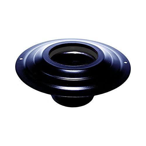tubi stufa a pellet Rosone con tronchetto DN 80 mm d. esterno 230 mm. in acciaio inox verniciato nero per stufa a pellet o legna tubo nero ce Made in Italy