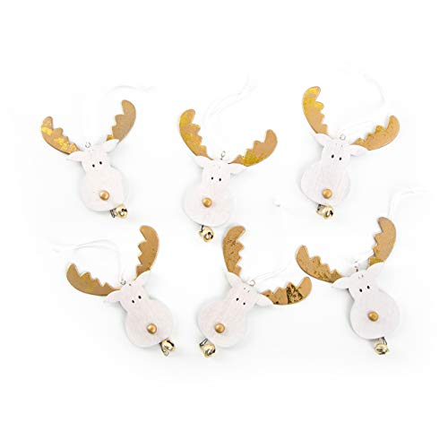 6 renna Rudolph corna di Rudolph oro bianco ciondolo di Natale in legno ciondolo albero di Natale pendente renna cervo alce