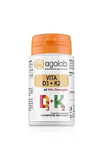AGOLAB VITAMINA D3 + K2   Alto Dosaggio MASTICABILE   2000UI 60 Compresse Gusto Frutti di Bosco
