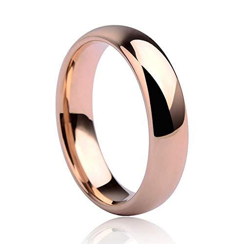 XCWXM Ringe Für Hochwertige Roségold Ton Wolfram Ehering 3,5 mm / 5 mm Breite Kuppel Band Männer und Frauen, 11,5
