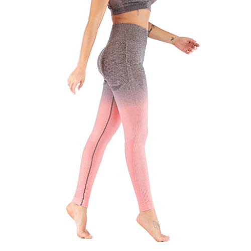 Fenverk Damen Sport Leggings Yoga Hose Laufhose Fitnesshose Jogginghose Gemustert S-XL MEHRWEG,Damen Yoga-Leggings mit Farbverlauf,Damen Colour Block-Sportleggings(Rosa,L)