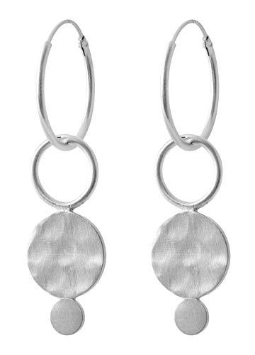 Pernille Corydon Creolen Anhänger Plättchen Ring - Saga Serie Ohrhänger 925 Silber - E410s