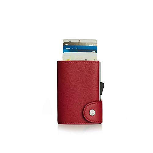 Kompakte Geldbörse mit RFID Blocker (Kartenhalthalter) - Ledergeldbörse aus echtem Leder für Herren und Damen - Für Karten, Geldscheine und Münzen - C-secure (Rot)