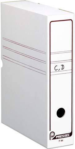 Pressel® Archivbox, Wellpappe, Klappdeckel, A4, 8 x 26 x 32 cm, weiß (20 Stück), Sie erhalten 1 Packung á 20 Stück