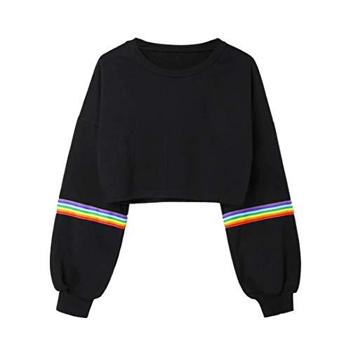 iYmitz DamenLange ÄrmelGestreifte Crop Hoodie Sweatshirt Pullover mit Kapuze Pullover Top(B-schwarz,XL)