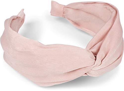 styleBREAKER Diadema para damas con superficie brillante y nudo decorativo, aspecto retro, cinta para el cabello, adornos para el cabello 04027027, color:Rosa palo