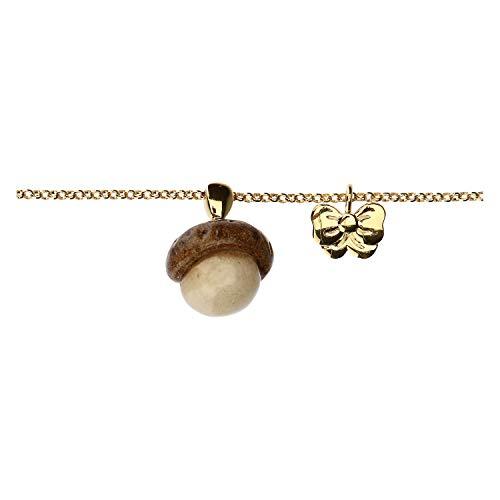 THUN ® - Bracciale Current - Ottone Placcato Oro e Ceramica- con ghianda - 17 + 2 cm