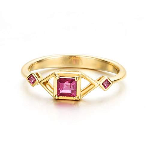AnazoZ Anillos Mujer Oro 18K,Anillo Oro Rosa Roja Mujer Compromiso Cuadrado con Triángulo Rubí Rosa Roja 0.43ct Talla 6,75-25